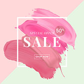 Vector cosmetic sale banner with text on lipstick stokes background. Good for salons, beauty shops.