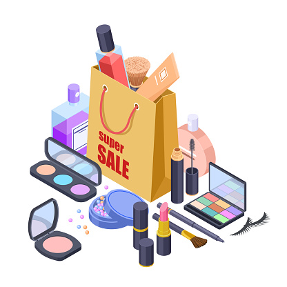 Cosmetic sale shoppig bag vector isometric concept