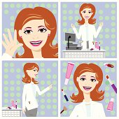 Cosmetic saleswoman in 4 different illustrations. Including Greeting customer, Standing behind the cash register, Pointing the way and a close up of her face with various cosmetic products. Design can be used as a whole or broken up into individual images. Design of character was also created with joints so body parts can be adjusted if need be for a more specific pose not shown here.