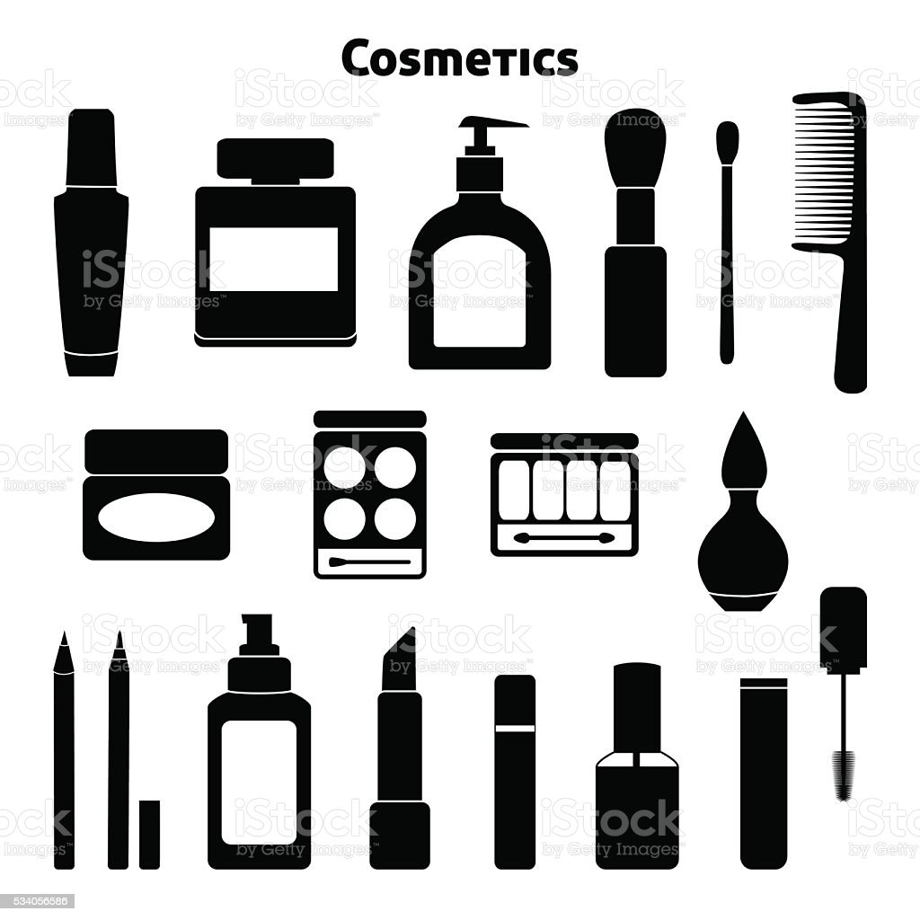 Cosmetic silhouettes set vector art illustration