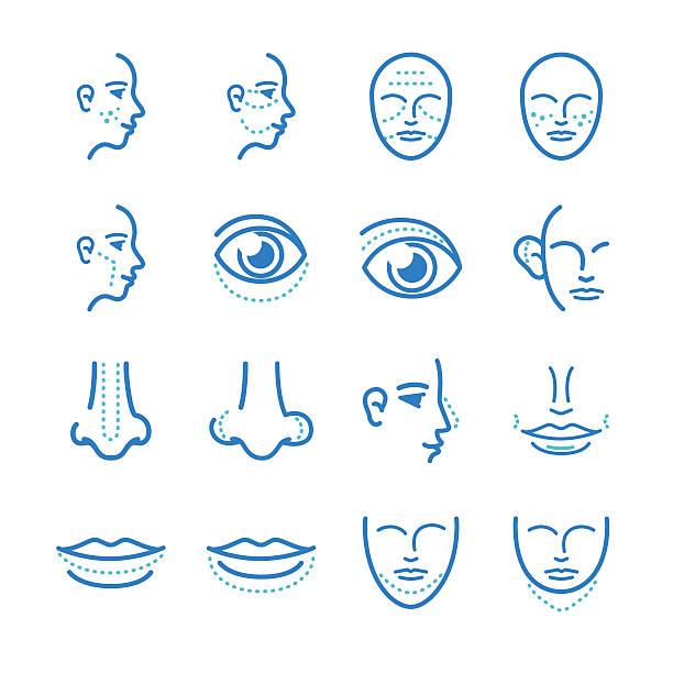 ilustraciones, imágenes clip art, dibujos animados e iconos de stock de conjunto de iconos de la cirugía estética - dermatología