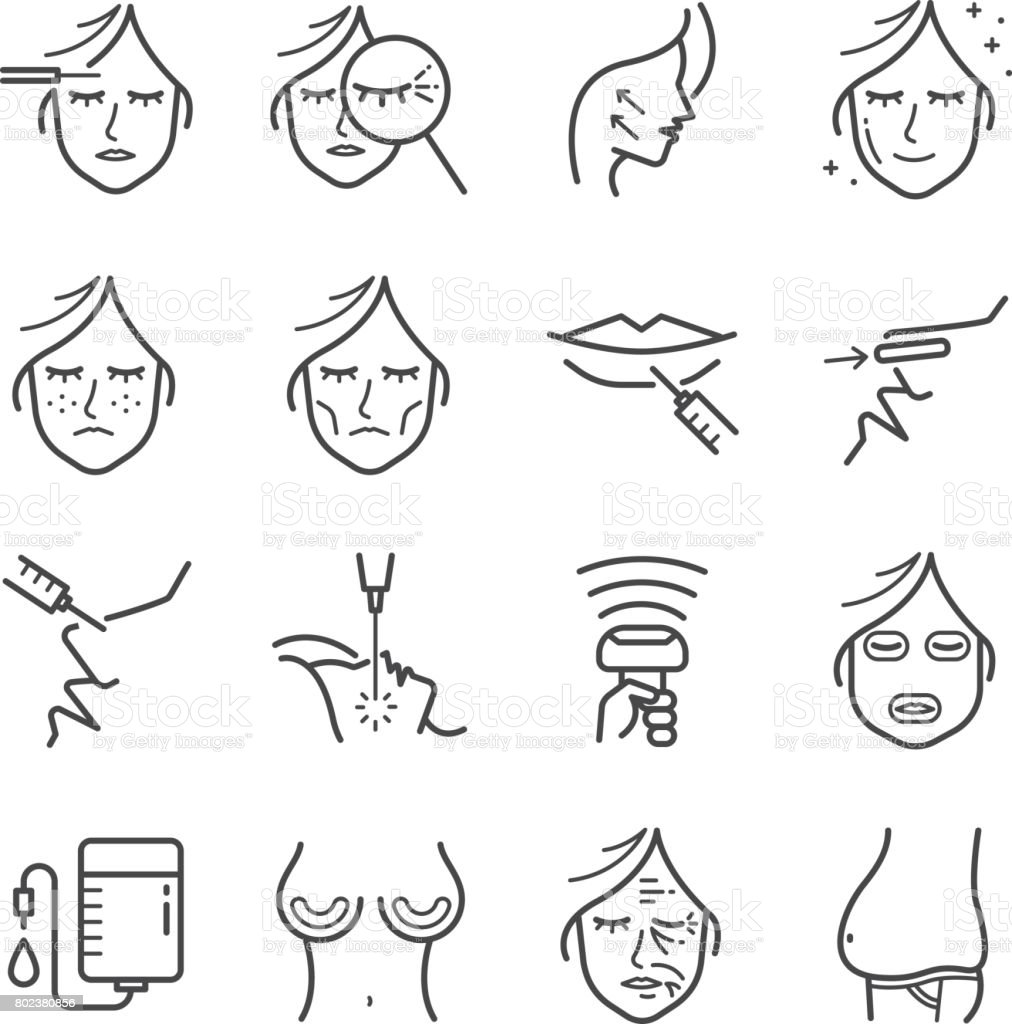 Cosmetic surgery line icon set. Included the icons as wrinkle, aging, botox, belly, Cellulite and more. vector art illustration