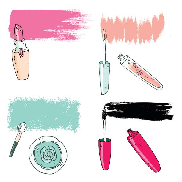 cosmetic tools with the trace. vector illustration - błyszczyk stock illustrations