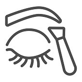 istock Cosmetic tweezers for eyebrow and closed eye line icon, makeup routine concept, Eyebrow tweezers sign on white background, Beautician forceps icon in outline style. Vector graphics. 1288017847