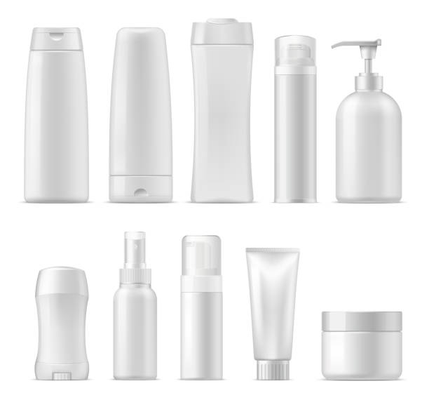 Cosmetic vector plastic package mockups Cosmetic package mockups, 3d plastic bottle containers. Vector realistic set of shampoo or facial cream cleanser, lotion and liquid soap, deodorant stick and sprayer, shower and shave gel, conditioner bottle stock illustrations