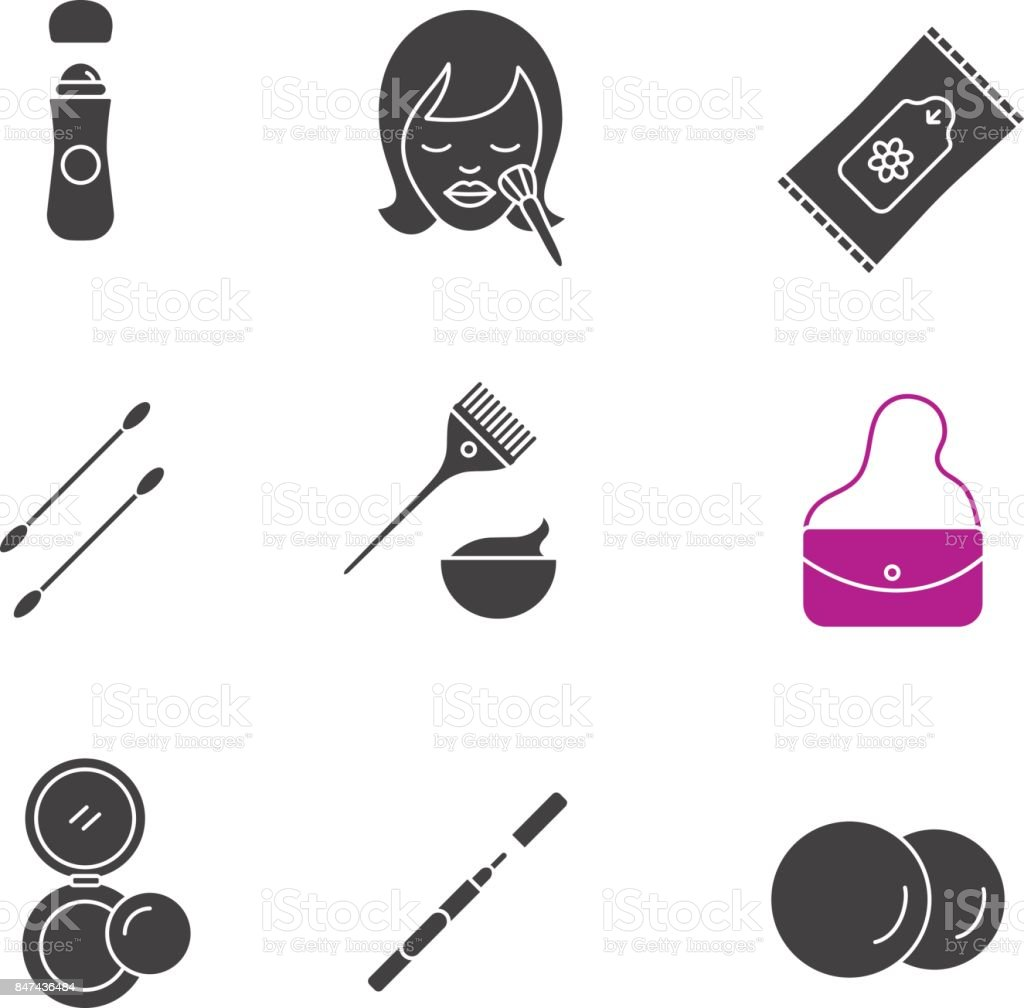 Cosmetics accessories glyph icons set