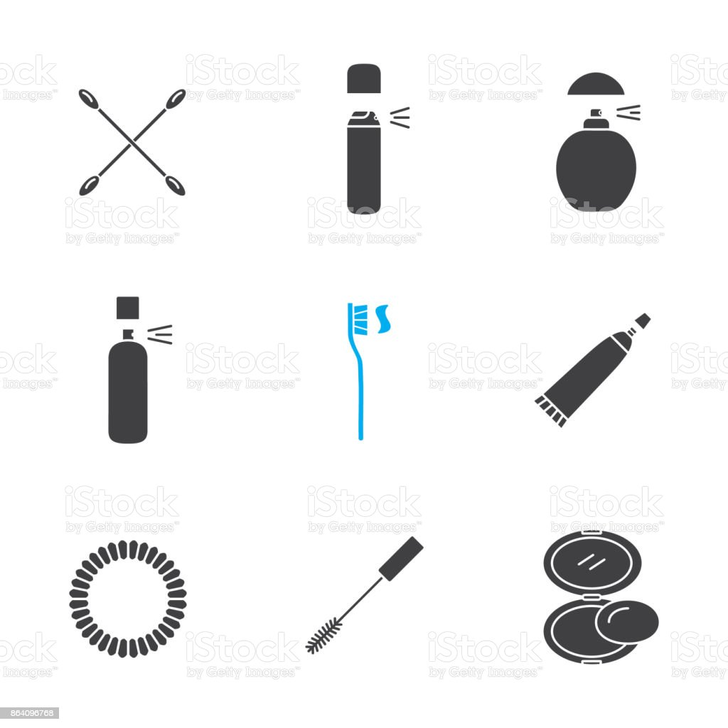 Cosmetics accessories glyph icons set royalty-free cosmetics accessories glyph icons set stock vector art & more images of beautician