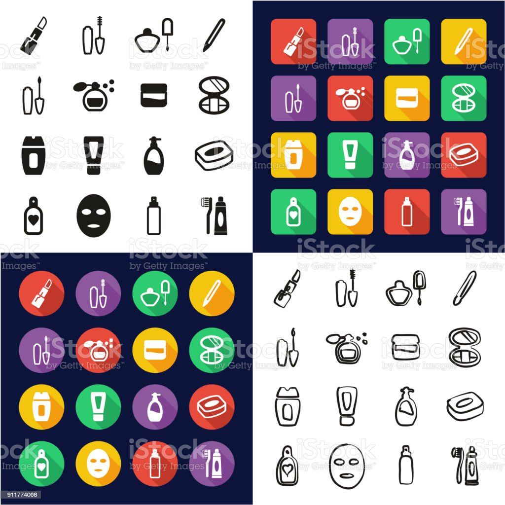 Cosmetics All in One Icons Black & White Color Flat Design Freehand Set vector art illustration