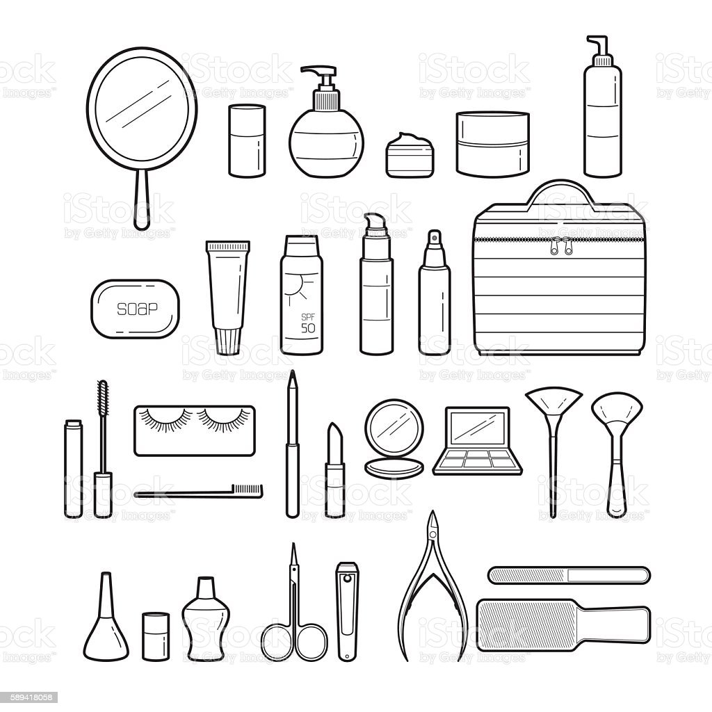 Cosmetics And Beauty Icons Set, Monochrome vector art illustration