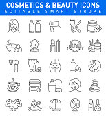 Cosmetics and Beauty Icons with woman, cosmetics, body care symbols