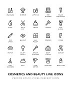 Cosmetics and Beauty Line Icons Icons Vector EPS 10 File, Pixel Perfect Icons.