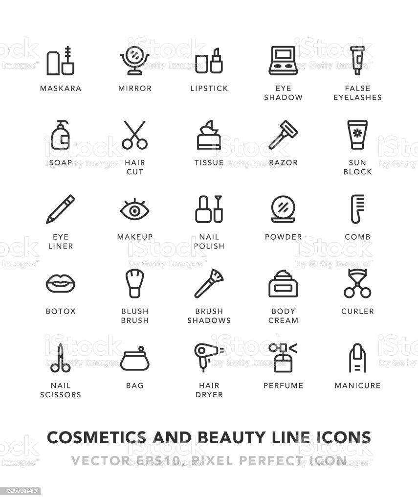 Iconos de línea de belleza y cosméticos - ilustración de arte vectorial