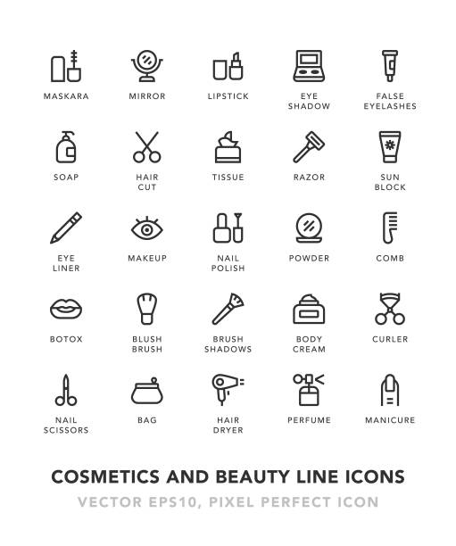cosmetics and beauty line icons - błyszczyk stock illustrations