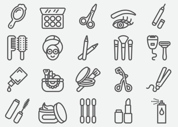 Cosmetics and Beauty Line Icons Cosmetics and Beauty Line Icons lipstick stock illustrations