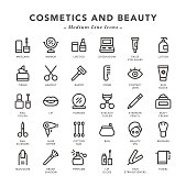 Cosmetics and Beauty - Medium Line Icons - Vector EPS 10 File, Pixel Perfect 30 Icons.