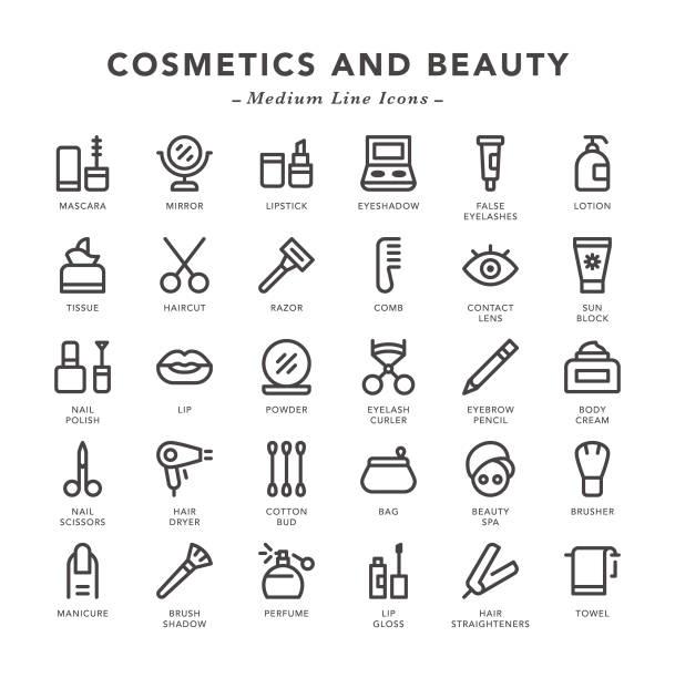 bildbanksillustrationer, clip art samt tecknat material och ikoner med kosmetika och skönhet-medium line ikoner - makeup artist