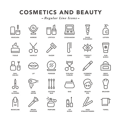 Cosmetics and Beauty - Regular Line Icons