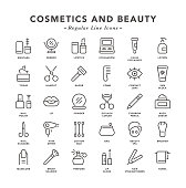 Cosmetics and Beauty - Regular Line Icons - Vector EPS 10 File, Pixel Perfect 30 Icons.