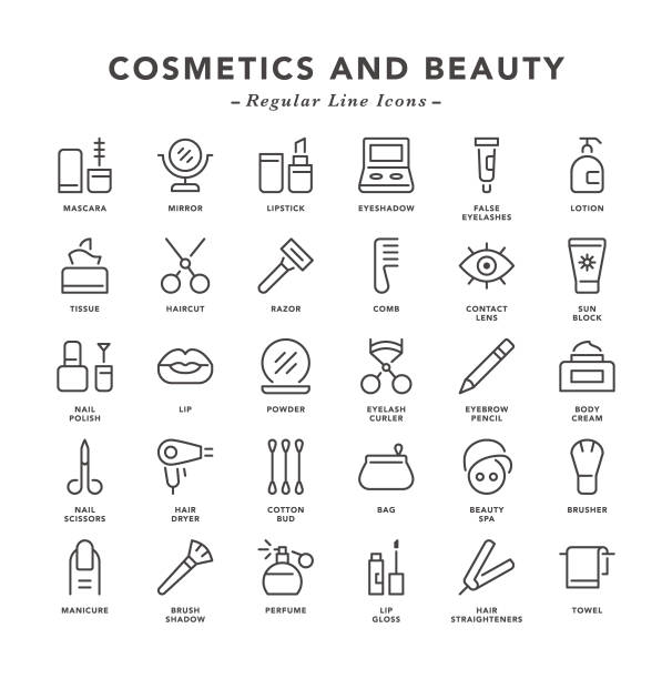 cosmetics and beauty - regular line icons - makeup fashion stock illustrations