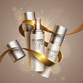 Cosmetics and decorative ribbon in vector