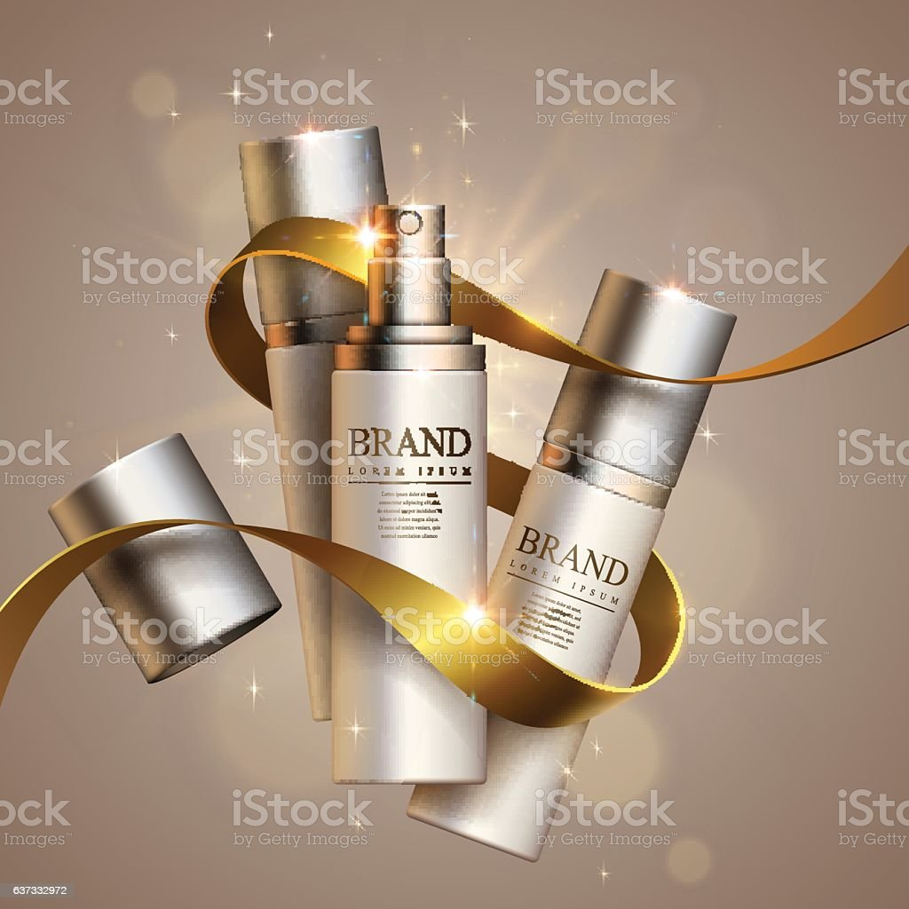 Cosmetics and decorative ribbon vector art illustration