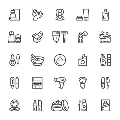 Cosmetics and makeup icons