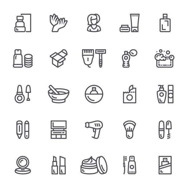 illustrazioni stock, clip art, cartoni animati e icone di tendenza di icone di cosmetici e trucco - prendersi cura del corpo