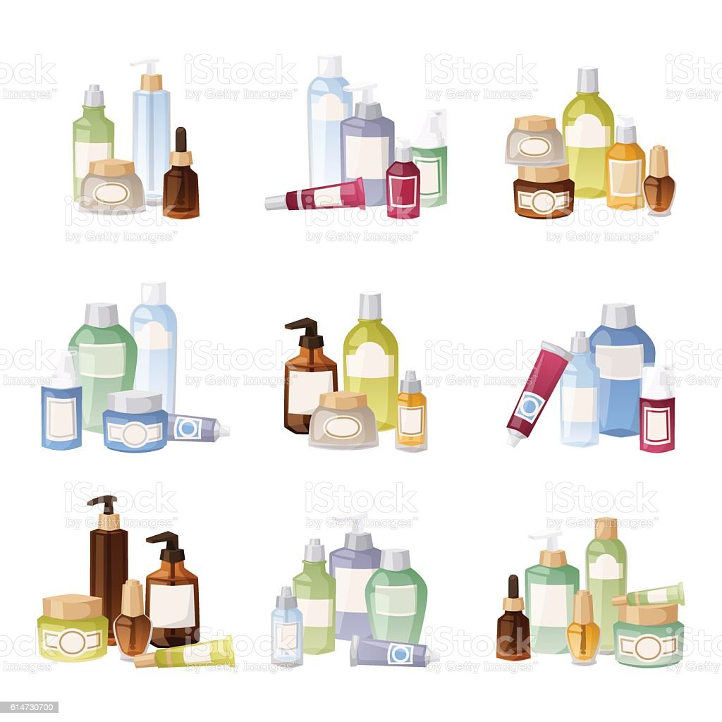 Cosmetics bottles vector illustration. vector art illustration