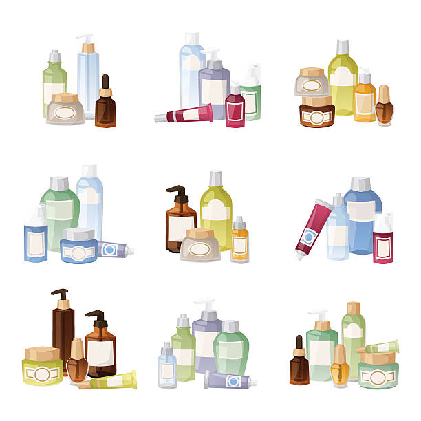 stockillustraties, clipart, cartoons en iconen met cosmetics bottles vector illustration. - skincare