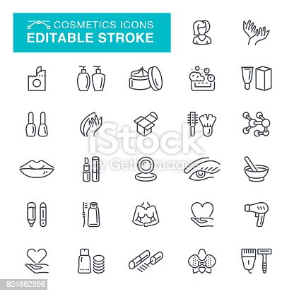 Makeup, Beauty, Beauty Product, Editable Stroke Icon Set