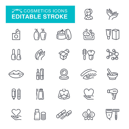 Cosmetics Editable Stroke Icons clipart