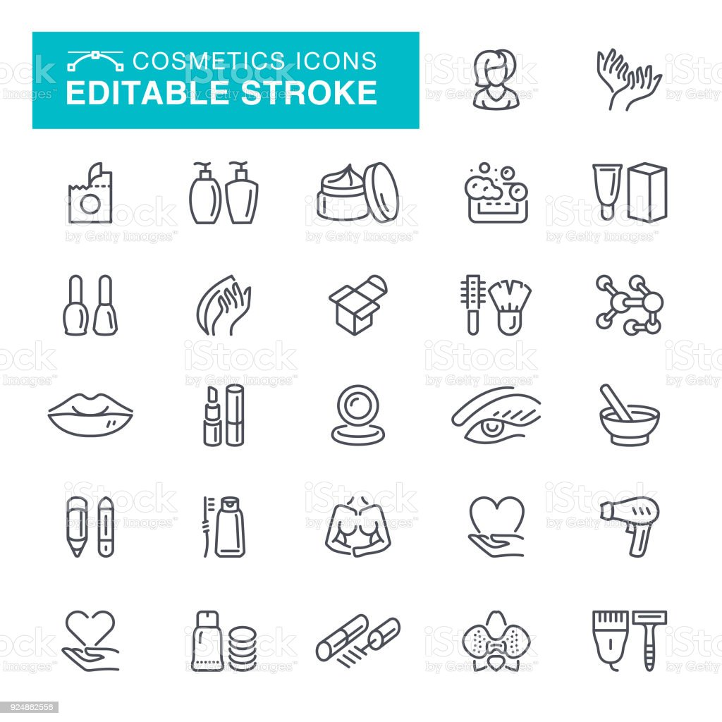 Cosmetics Editable Stroke Icons векторная иллюстрация
