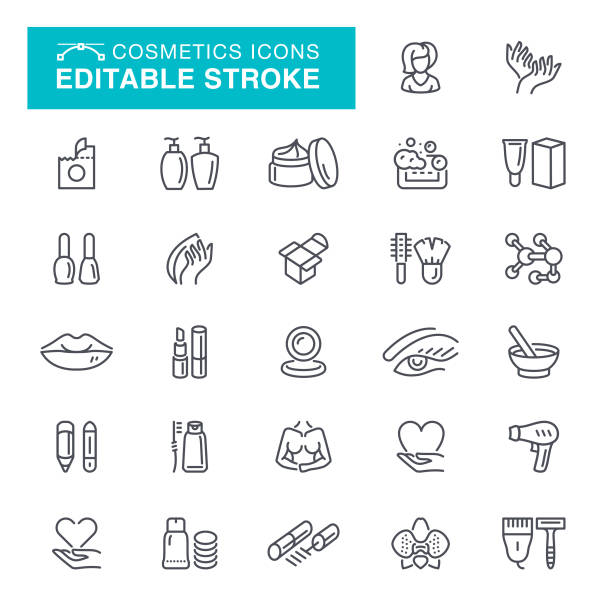 cosmetics editable stroke icons - makeup fashion stock illustrations