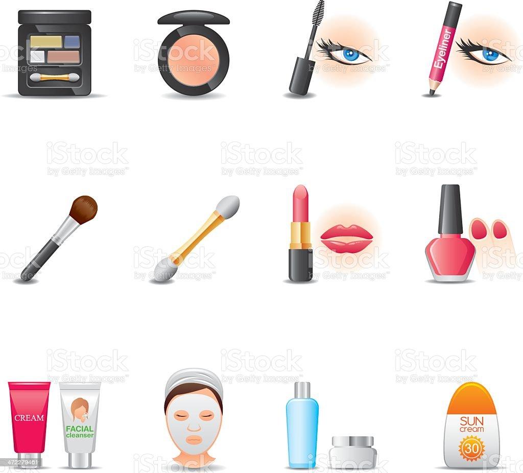 Cosmetics & Face Care Icon Set   Elegant Series