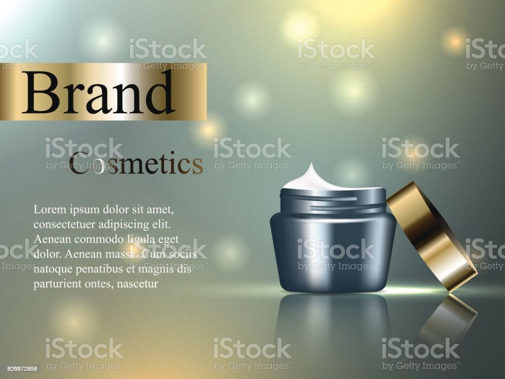 Cosmetics Face Cream With A Gold Cap On A Gentle Background
