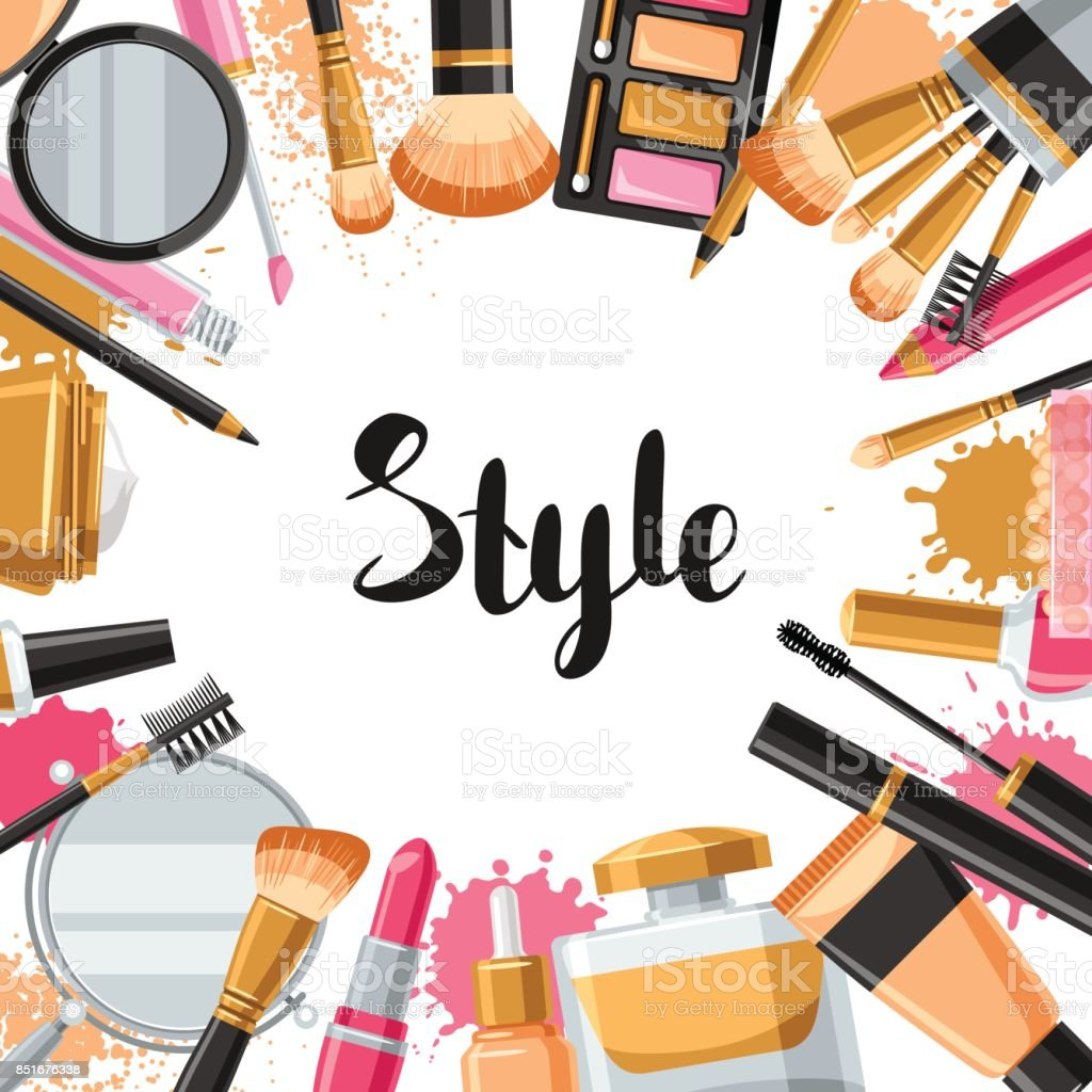 cosmetics for skincare and makeup background for catalog