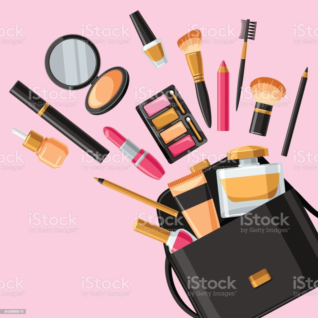 Cosmetics for skincare and makeup out of bag. Background for catalog or advertising