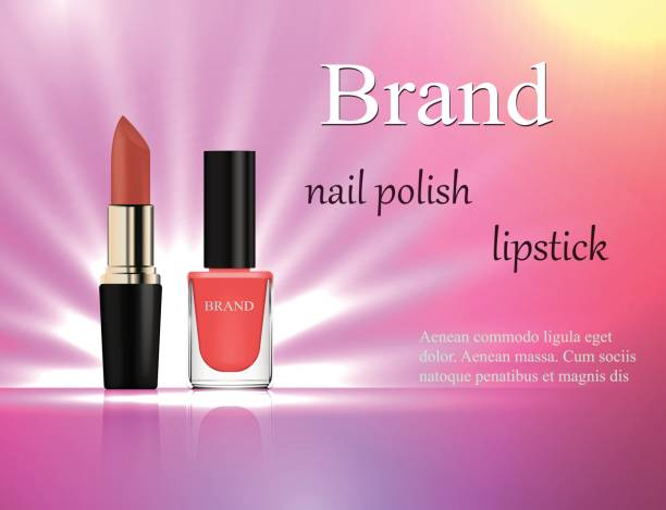 Cosmetics, gentle pink nail polish and lipstick on a gentle bright background with rays of light, advertising, banner, glamor, luxury, 3d vector realistic, design Cosmetics, gentle pink nail polish and lipstick on a gentle bright background with rays of light, advertising, banner, glamor, luxury, 3d vector realistic, design glossa stock illustrations