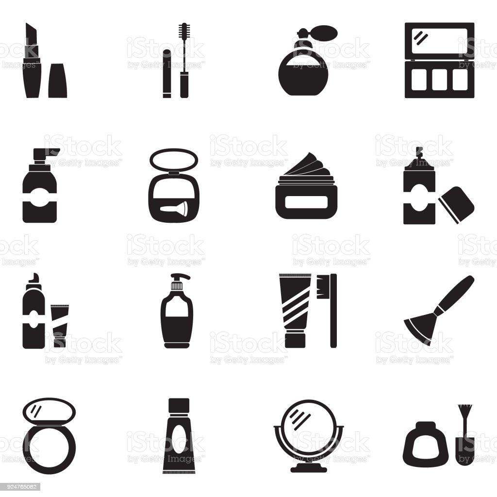 Cosmetics Icons. Black Flat Design. Vector Illustration. vector art illustration