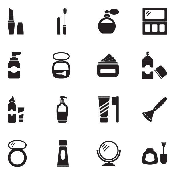 illustrazioni stock, clip art, cartoni animati e icone di tendenza di cosmetics icons. black flat design. vector illustration. - profumo