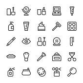 Cosmetics Icons - MediumX Line Vector EPS File.