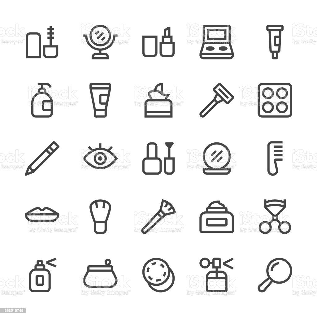 Iconos de cosméticos - línea MediumX - ilustración de arte vectorial