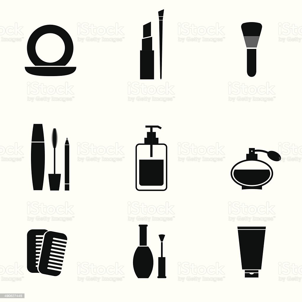 cosmetics icons set stock vector art amp more images of