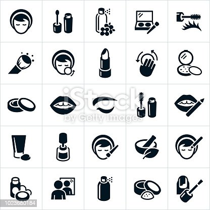 An icon set of cosmetics, especially makeup type cosmetics. The icons show a woman applying makeup, makeup, eyeshadow, eyeliner, blush, body spray, makeup brush, foundation, body cream, lotion, lips, eye, lip pencil, nail polish and mirror to name a few.