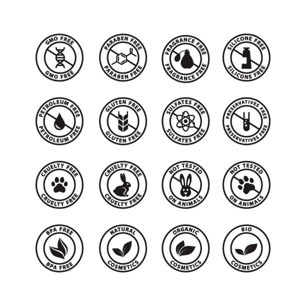 cosmetics ingredients free circle vector badge label - perfumy stock illustrations