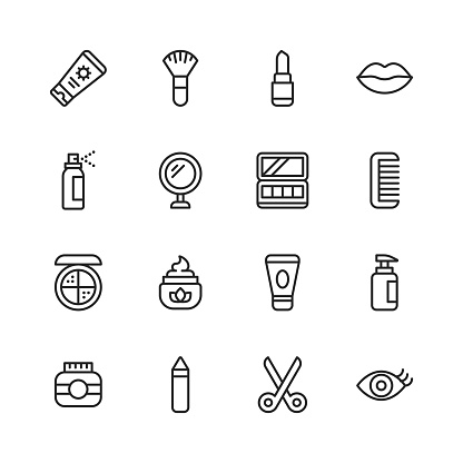 Cosmetics Line Icons. Editable Stroke. Pixel Perfect. For Mobile and Web. Contains such icons as Cosmetics, Beauty, Make-Up, Shampoo, Hair Salon, Body Care, Hygiene, Fashion, Nail, Barber, Perfume, Lipstick, Eyebrow.