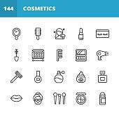 20 Cosmetics Outline Icons. Cosmetics, Make-Up, Beauty, Wellness, Shampoo, Hair Salon, Body Care, Hygiene, Fashion, Nail, Barber, Perfume, Lipstick, Eyebrow, Mirror, Moisturizer, Nail Polish, Face Powder, Eyeshadow, Mascara, Deodorant, Skin Care, Contour Drawing.
