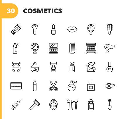 30 Cosmetics Outline Icons. Cosmetics, Make-Up, Beauty, Wellness, Shampoo, Hair Salon, Body Care, Hygiene, Fashion, Nail, Barber, Perfume, Lipstick, Eyebrow, Mirror, Moisturizer, Nail Polish, Face Powder, Eyeshadow, Mascara, Deodorant, Skin Care, Contour Drawing.