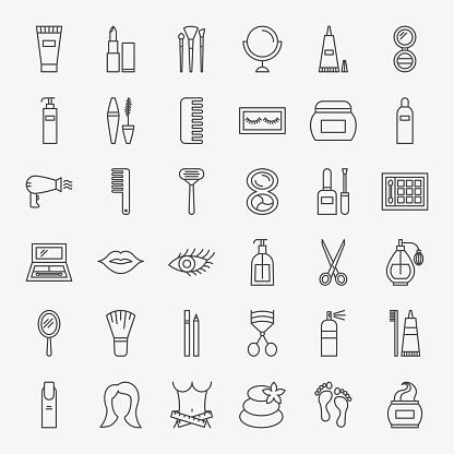Cosmetics Line Icons Set
