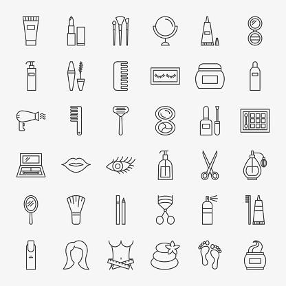 Cosmetics Line Icons Set clipart